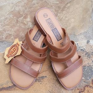 New, Payless, Leather Slide Sandals.